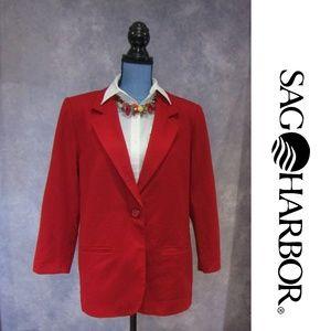Sag Harbor 100% Wool Red Blazer Size 10P